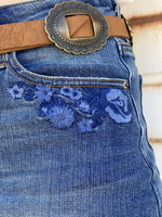 High-Waisted Embroidered Shorts
