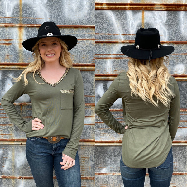 Olive Gold Sequin Top