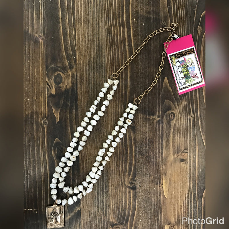 J. Forks Freshwater Pearls Necklace with a Santa Rita Pendent