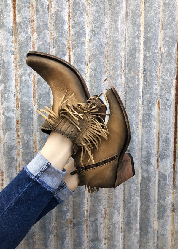 Liberty Black Miranda Fringe Booties- Tan