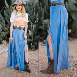 Lambert Denim Slit Skirt