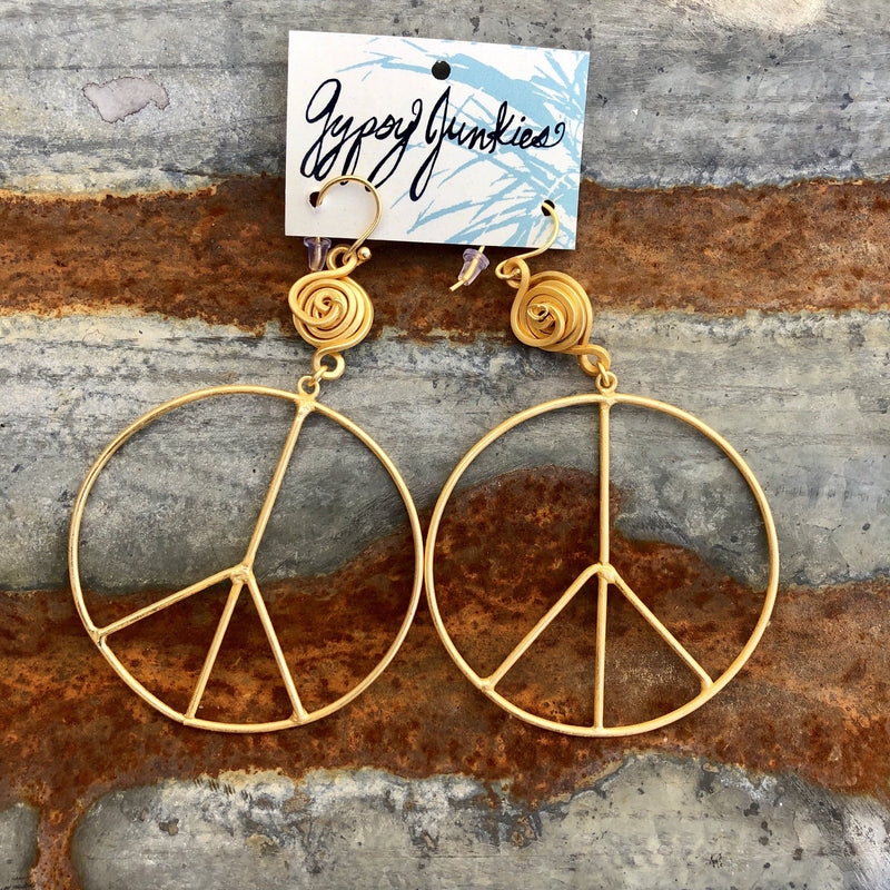 Gold Peace Earrings