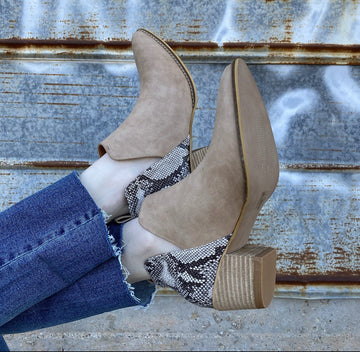 Eloise Snake Bootie- Taupe