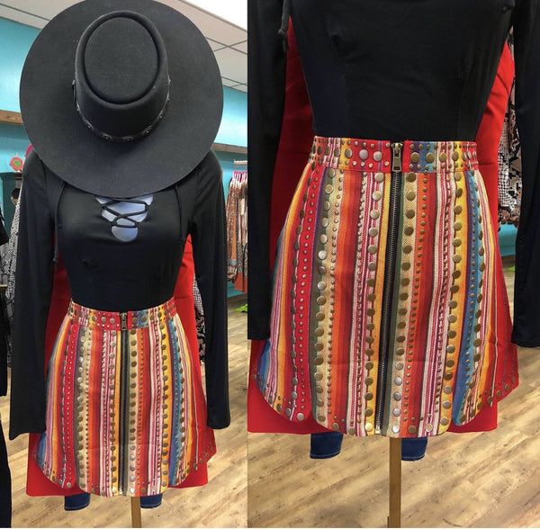 Lizzy Red Serape Stud Skirt