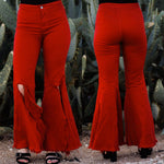 Cherry Slit Bell Bottoms
