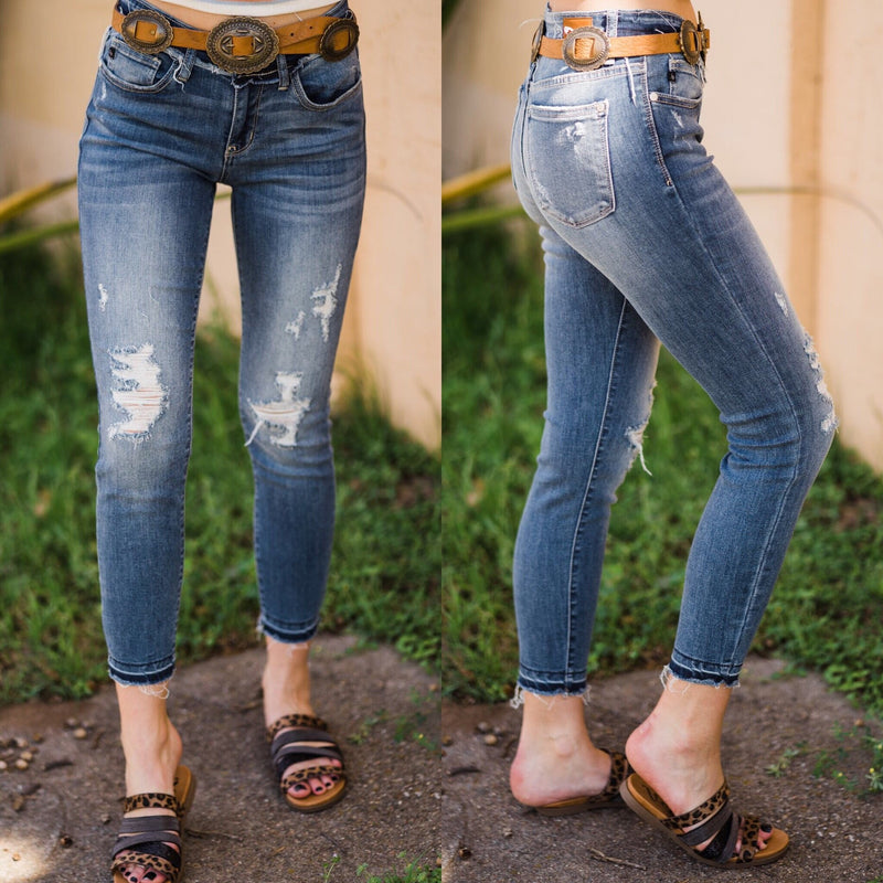 Nellie Raw Distressed Skinnies