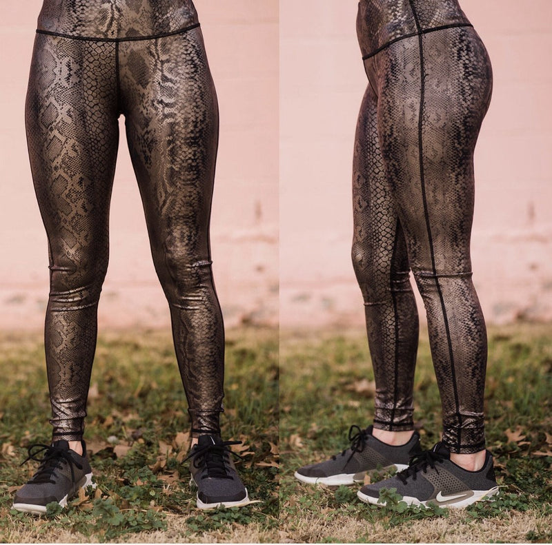 Gold Metallic Snake Leggings
