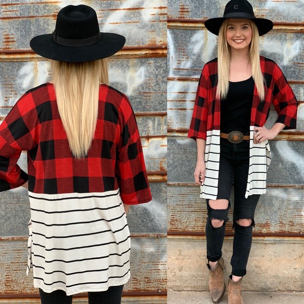 Olivia Plaid Stripe Cardigan