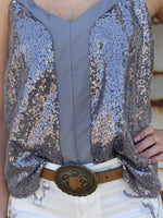 Madonna Sequin Tank -Silver