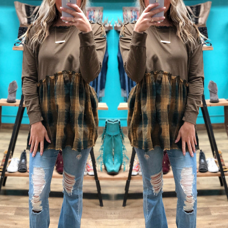 Mocha Plaid Hooded Tunic