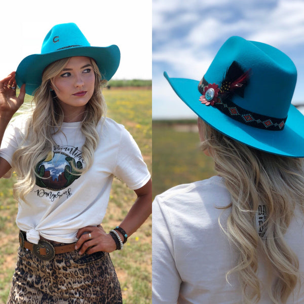 Charlie 1 Horse Wild Tribe Hat -Turquoise