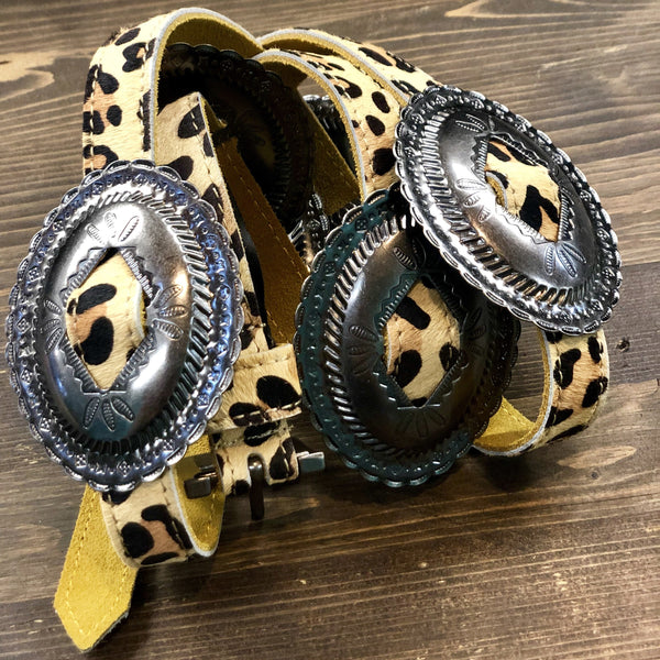 Leopard Thin Concho Belt