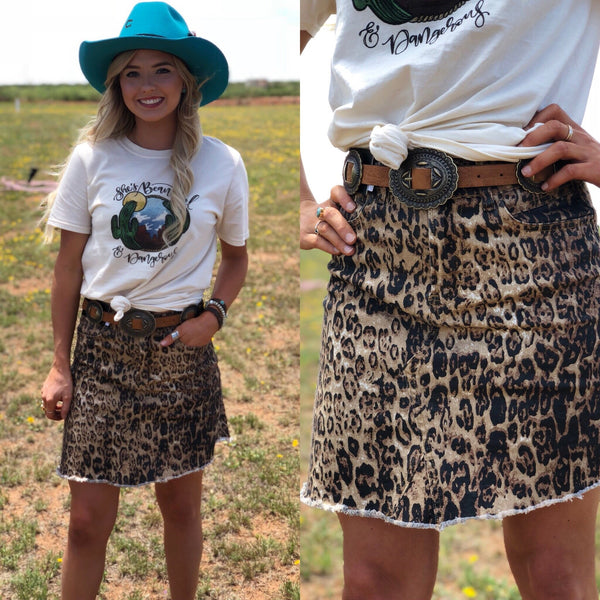 Leopard Frayed Skirt