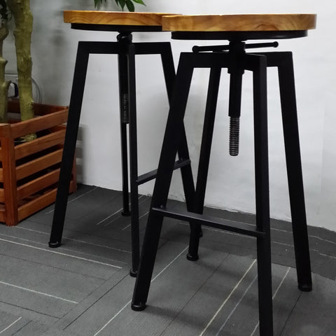 European Adjustable Iron Stool with Wooden Top