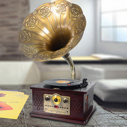 Vintage Gramophone with Big Metal Horn