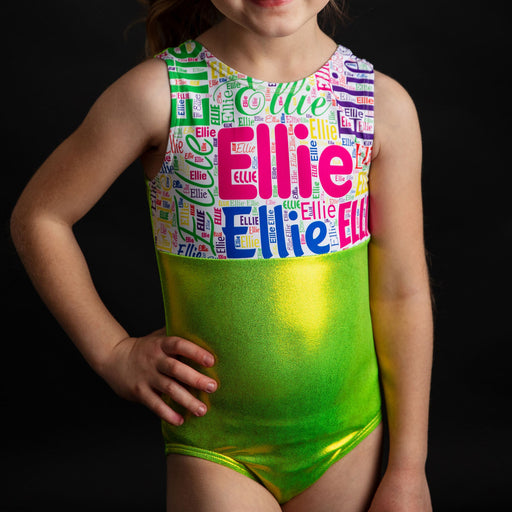 Personalized Subway Art Name Leotard - Lime