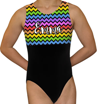 Chevron Rainbow Personalized Gymnastics Leotard - AERO Gymnastics Leotards