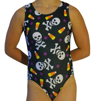 Crossbones & Candy Corn Halloween Leotard - AERO Leotards