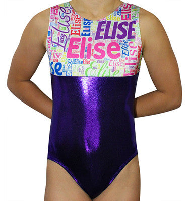 Personalized Subway Art Name Leotard - Purple - AERO Leotards