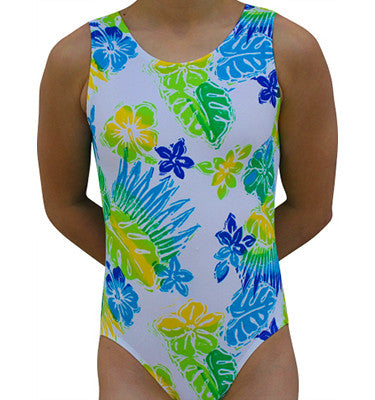 Cool Tropical Hawaiian Print Gymnastics Leotard by AERO Leotards