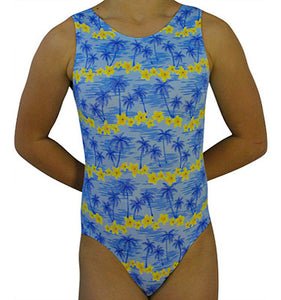 Gymnastics Leotard Hawaiian Tropical Blue by AERO Leotards