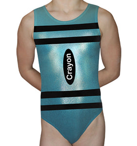 Mint Blue Crayon Leotard - AERO Leotards