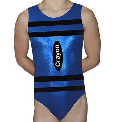 Blue Crayon Leotard - AERO Gymnastics Leotards
