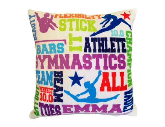 Personalized Gymnast Pillow Velour Velvet Pillow Custom Cushion Gymnastics Gift Gymnast Decor