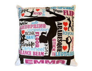 Personalized Gymnast Pillow Velour Velvet Pillow Custom Cushion Gymnastics Gift Gymnast Decor or Travel Pillow