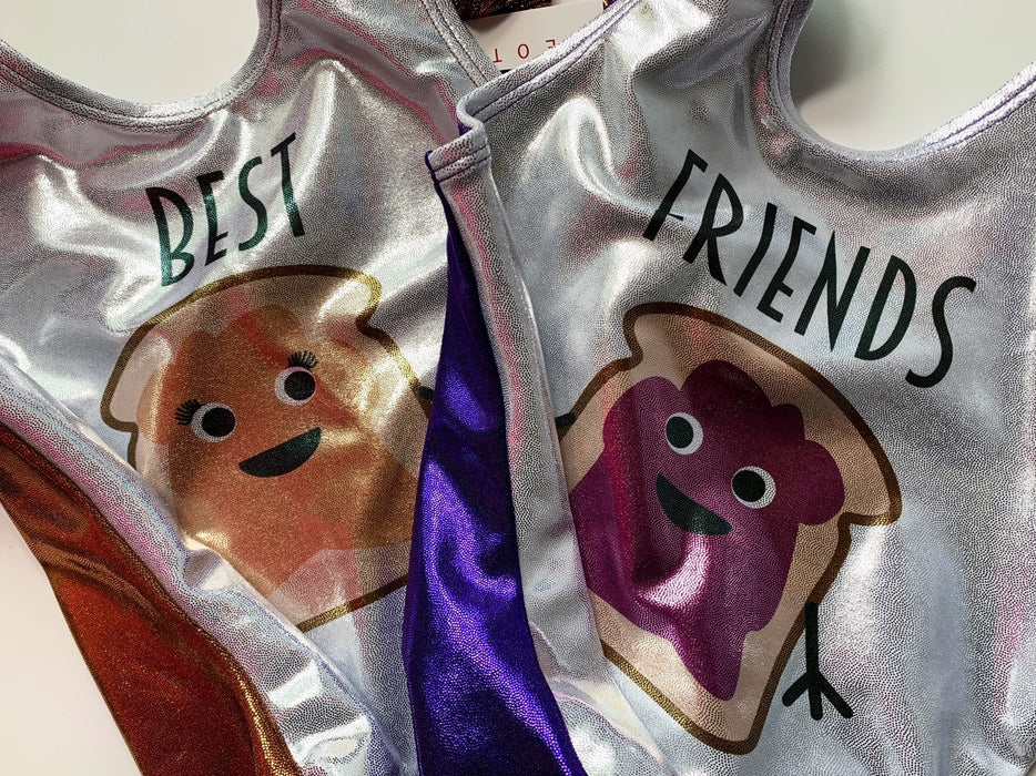 Gymnastics Leotard Girls Baby Toddlers Dance Ballet Costume Custom Bodysuit Leo - Best Friends Peanut Butter & Jelly - AERO Leotards