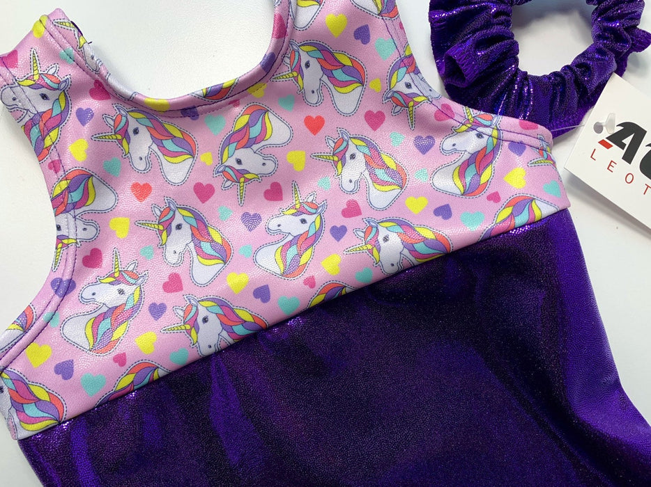 Gymnastics Leotard Girls Baby Toddlers Dance Ballet Costume Custom Bodysuit Leo - Unicorns - AERO Leotards