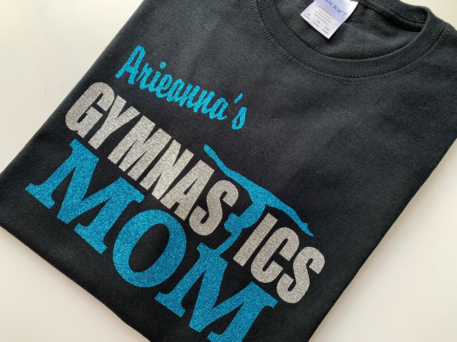 Gymnastics Mom Gymnast Mom T-shirt Personalized Custom Tee Shirt Sparkle Glitter Top Gymnastics Apparel Gift Gymnast Glitter