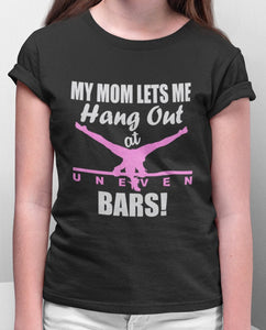 Tee Shirt Gymnastics GYMNAST Glitter T-shirt Gymnastic Shirt girls ladies Sparkle My mom lets me hang out at bars