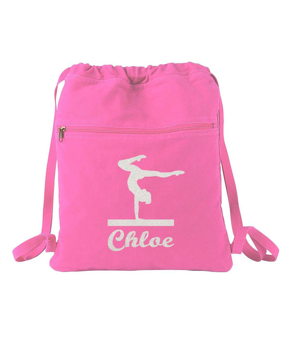 Personalized Gymnast Gymnastics Sparkle Authentic Pigment Pigment-Dyed Canvas Cinch Sack Zipper Pocket