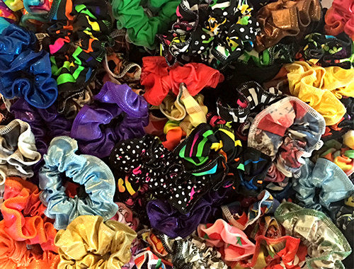 Hair Scrunchies Wholesale Bulk Assorted Random Prints Fabrics Gymnastics Leotard Scrunchies Cheer Practice Stock Your Gym Store