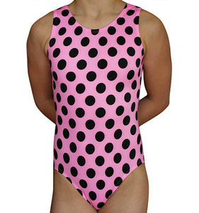 Pink & Black Polka Dot Leotard - AERO Leotards