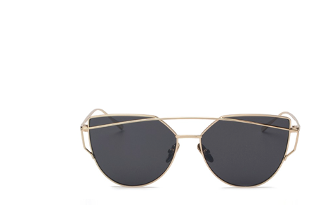 MIRROR MIRROR GOLD BLACK LENS SUNGLASSES