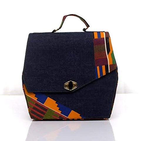 Leather and Kente Print Handbag - Akili Kabibe Apparel