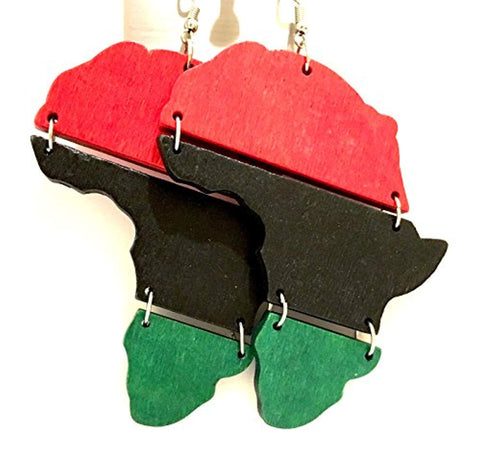 Red Black & Green Africa Hinged Wood Earrings - Akili Kabibe Apparel