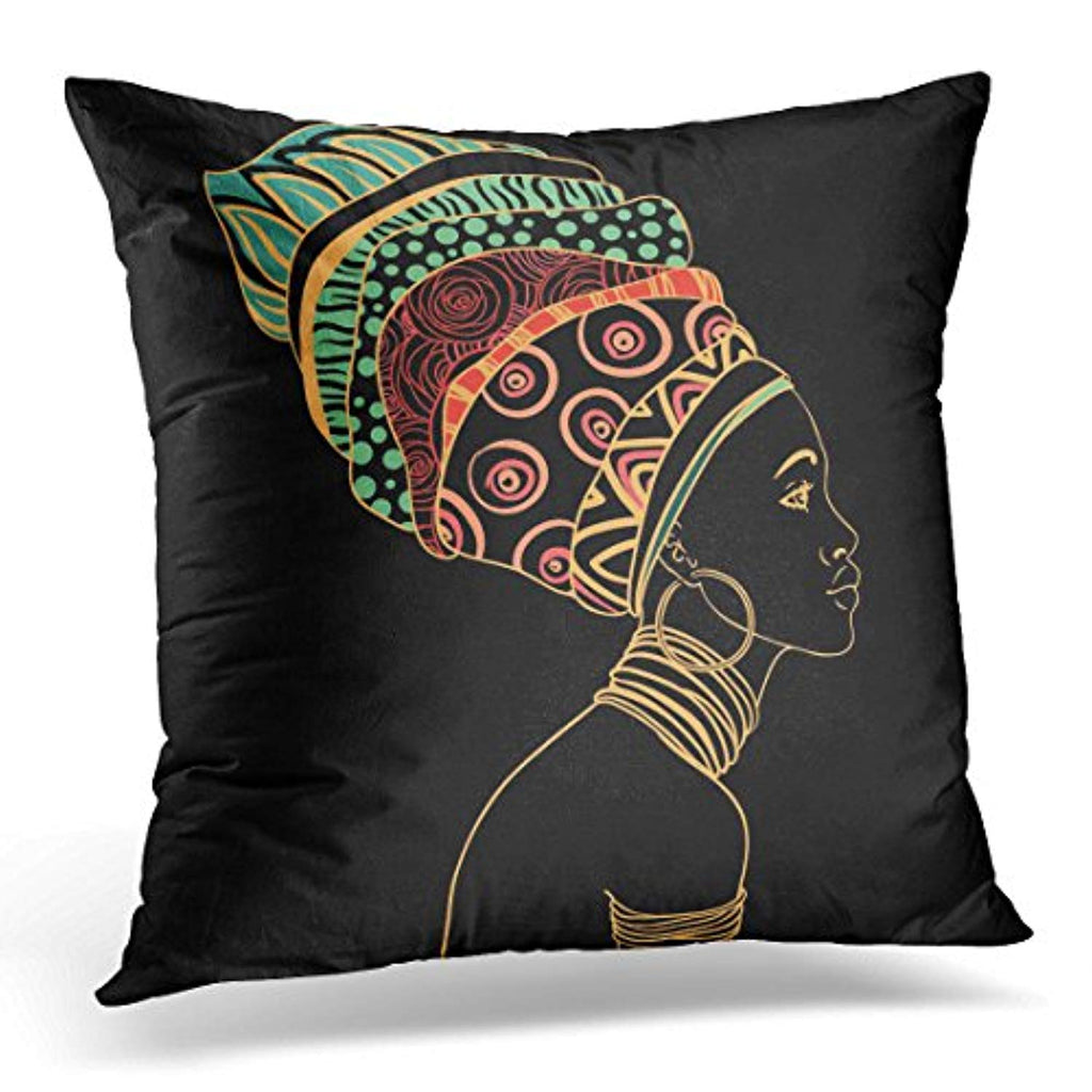 Portrait of Beautiful African Woman Decorative Pillow Case - Akili Kabibe Apparel