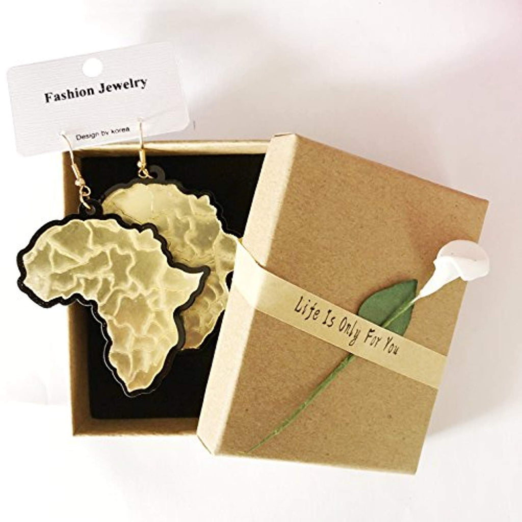 Africa Map Acrylic Drop Earrings - Akili Kabibe Apparel