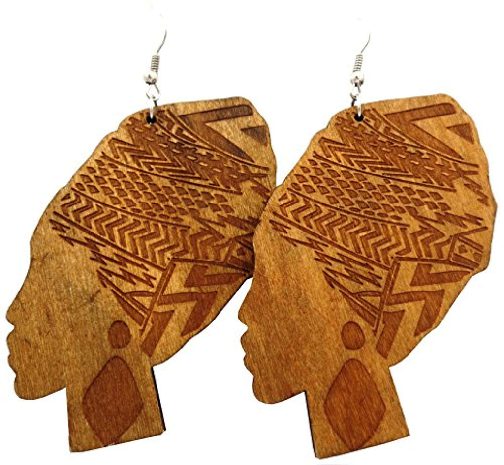 African Wrap Women Earrings - Light Brown - Akili Kabibe Apparel