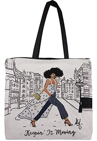 African American Expressions - Keepin' It Moving Woven Tote Bag 17 x 17 - Akili Kabibe Apparel