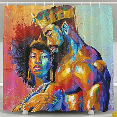The King & His Queen Mildew Resistant White Shower Curtain - Akili Kabibe Apparel