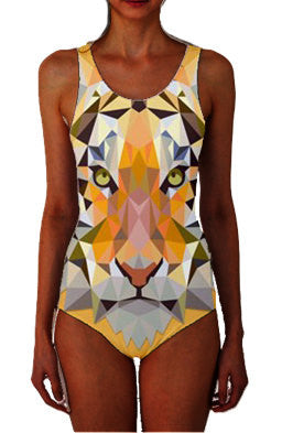 Mosaic Tiger Women's One-Piece Swimsuit - Akili Kabibe Apparel