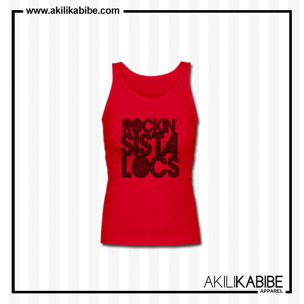 Rockin' Sista Locs Women's Premium Tank Top - Red - Akili Kabibe Apparel