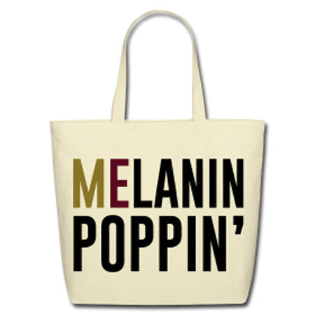 Melanin Poppin' Natural Cotton Canvas Tote - Biege