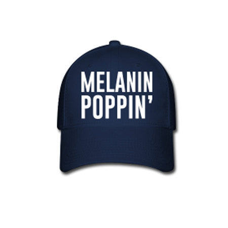 Melanin Poppin' Flex Fit Baseball Cap - Blue - Akili Kabibe Apparel