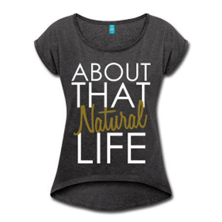 About that Natural Life Women's Rolled Sleeve High Low T-shirt - Dark Gray - Akili Kabibe Apparel