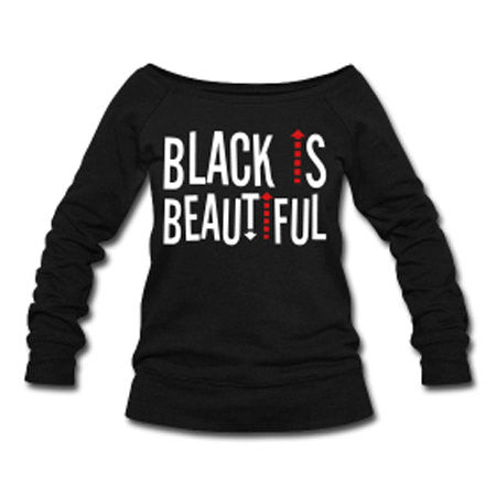 Black Is Beautiful Wide Neck Off Shoulder Slouchy Women's Sweatshirt - Black